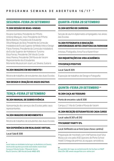 Semana de receção ao estudante - 2016/2017 - programa